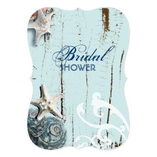 modern ocean SeaShells Beach bridal shower Card