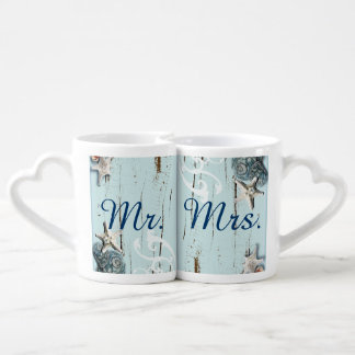 modern ocean SeaShells Beach Wedding Coffee Mug Set