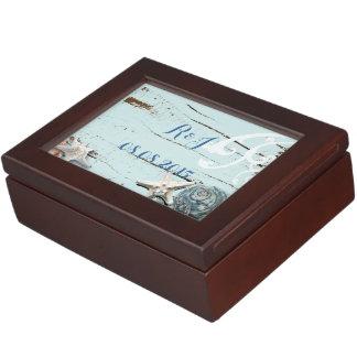 modern ocean SeaShells Beach Wedding Keepsake Boxes