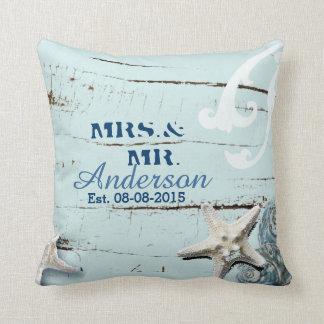 modern ocean SeaShells Beach Wedding Throw Pillow