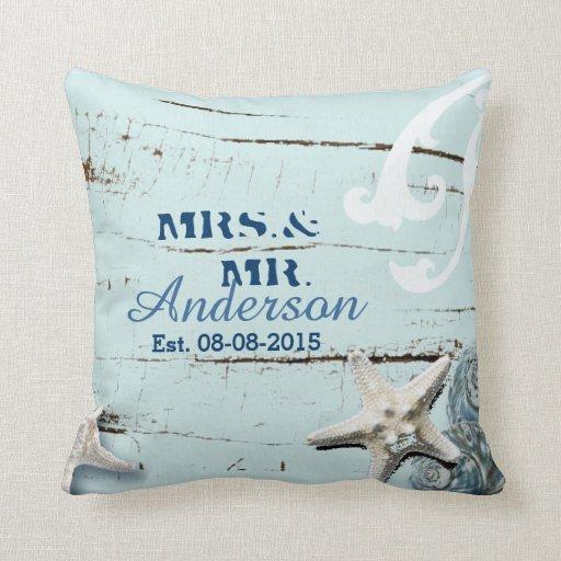 Modern Beach Pillow : modern ocean SeaShells Beach Wedding Throw Pillows Zazzle