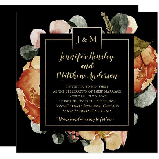 Modern October Blooms on Black Monogram Wedding Invitation