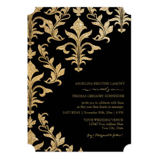 Modern Offset Damask Wedding Invitations Faux Gold
