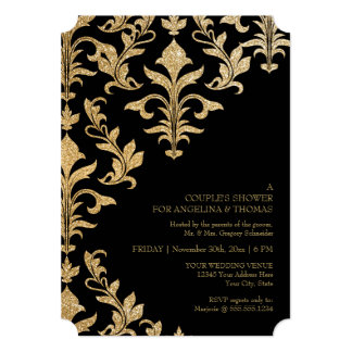 Modern Offset Damask Wedding Invitations Faux Gold
