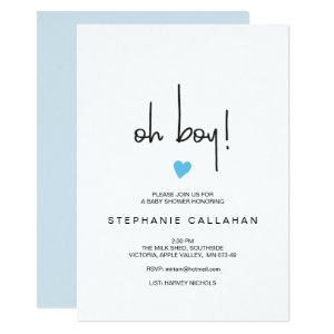 Modern oh boy baby shower invitation Blue heart
