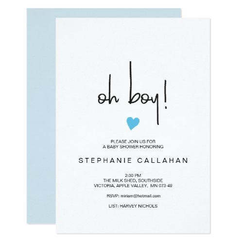 Modern oh boy baby shower invitation  Blue heart