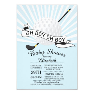 Modern Oh Boy Golf Ball Boys Baby Shower Card
