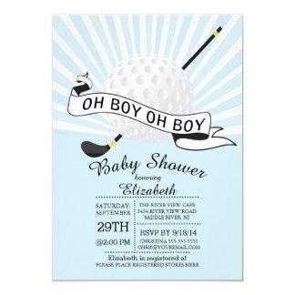 Modern Oh Boy Golf Ball Boys Baby Shower 5x7 Paper Invitation Card