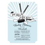 Modern Oh Boy Hockey Boys Baby Shower Card