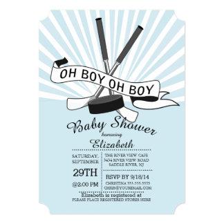 Modern Oh Boy Hockey Boys Baby Shower 5x7 Paper Invitation Card