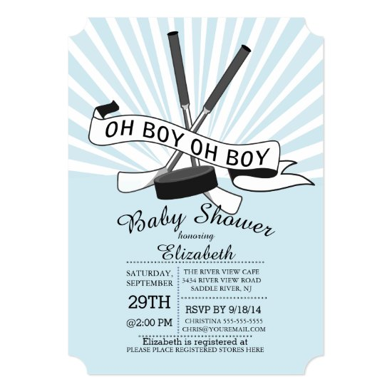 Modern Oh Boy Hockey Boys Baby Shower Invitation
