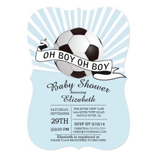 Modern Oh Boy Soccer Boys Baby Shower 5x7 Paper Invitation Card