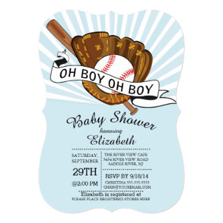 Modern Oh Boy Sports Baseball Boys Baby Shower Card