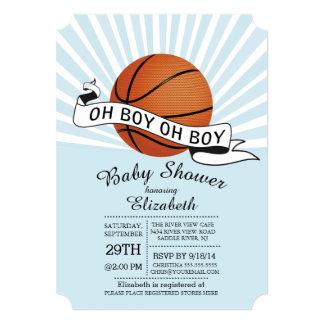 modern oh boy sports basketball boys baby shower 5x7 paper invitation