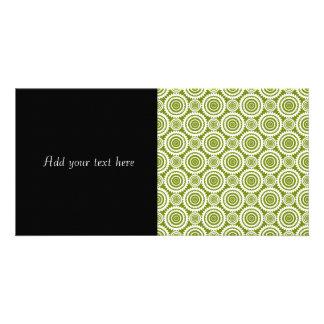 Modern Olive Green and White Geometric Pattern Art Card