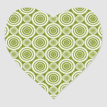 Modern Olive Green and White Geometric Pattern Art Heart Sticker
