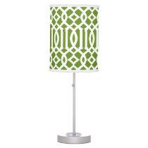 Modern Olive Green and White Trellis Desk Lamp