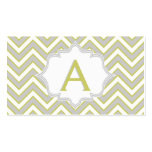 Modern olive green, grey chevron monogram business card templates
