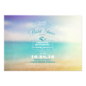 Modern ombre blue vanilla beach bridal shower custom invite