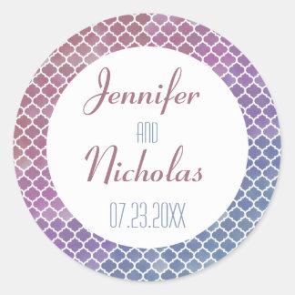 Modern Ombre Geometric Mosaic Wedding Classic Round Sticker