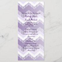 modern ombre purple chevron wedding programs