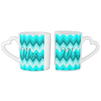 modern ombre turquoise chevron mr and mrs coffee mug set