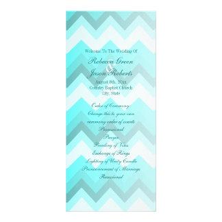 modern ombre turquoise chevron wedding programs
