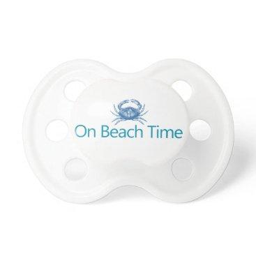 "Beach Themed Modern ""On Beach Time"" Pacifier"
