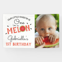 Modern One in a Melon | 1st Birthday Photo Banner