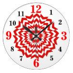 Modern Optical Art Design Wall Clock Red