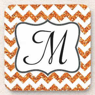Modern Oran Glitter Chevron Monogram Drink Coaster