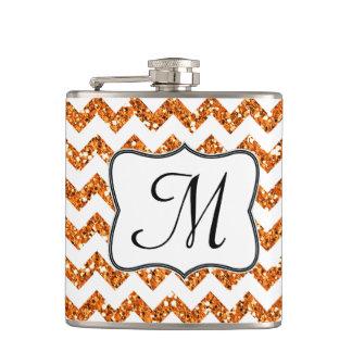 Modern Oran Glitter Chevron Monogram Whiskey Flask