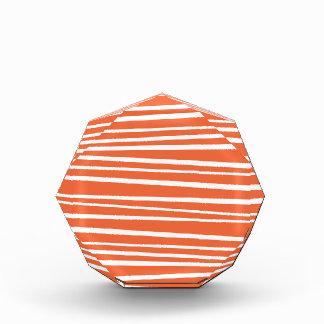 Modern Orange Abstract Tiger Stripes Zig Zag Acrylic Award
