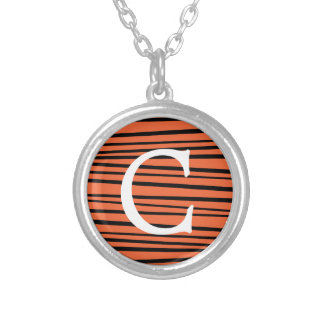 Modern Orange Abstract Tiger Stripes Zig Zag Round Pendant Necklace