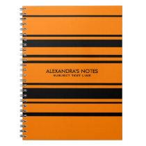 Modern Orange And Black Stripes Pattern Notebook
