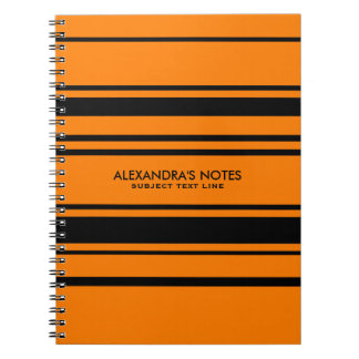 Modern Orange And Black Stripes Pattern Spiral Notebook