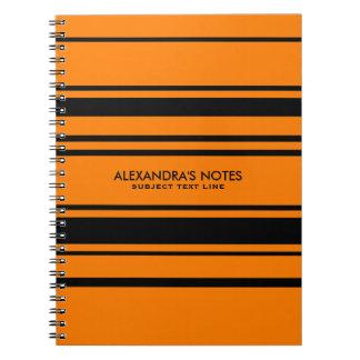 Modern Orange And Black Stripes Pattern Spiral Notebook