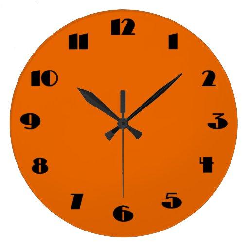 Modern Orange and Black Wall Clock