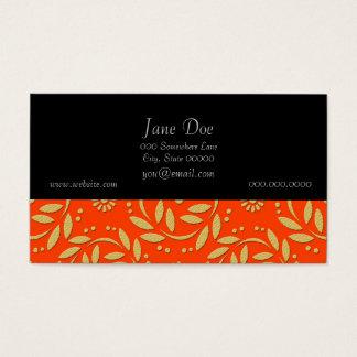 Modern Orange and Gold Floral Pattern Business Card