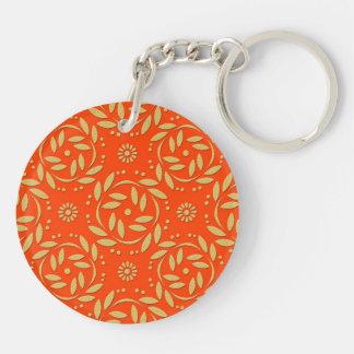 Modern Orange and Gold Floral Pattern Keychain