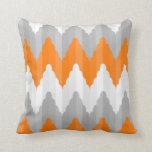 Modern Orange And Gray Chevron  Striped Pattern Throw Pillow