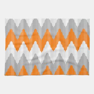 Modern Orange And Gray Chevron Striped Pattern Towel at Zazzle
