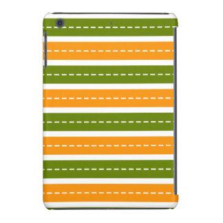 Modern Orange and Green Dashed Stripes Pattern iPad Mini Case