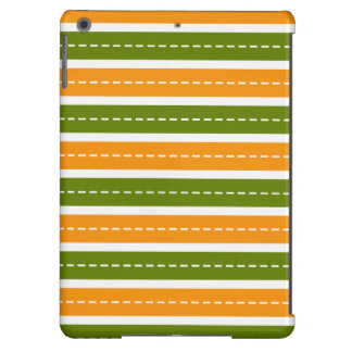 Modern Orange and Green Dashed Stripes Pattern iPad Air Covers