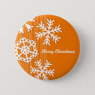 Modern orange and white Christmas white snowflakes Button