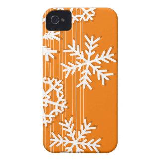 Modern orange and white Christmas white snowflakes Case-Mate iPhone 4 Case