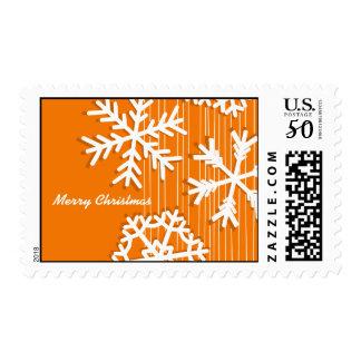 Modern orange and white Christmas white snowflakes Postage