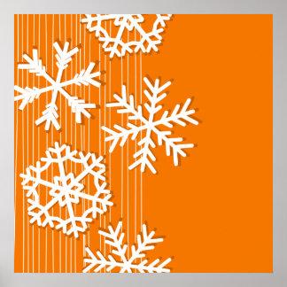 Modern orange and white Christmas white snowflakes Posters