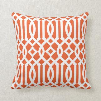 Modern Orange and White Imperial Trellis Pillow