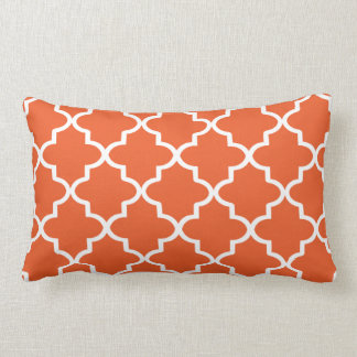 Modern Orange and White Moroccan Quatrefoil Lumbar Pillow